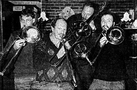 De trombone-sectie van Exposure, vlnr Dirk Booy, Robert Scholten, Gerrit Hammink
